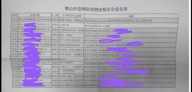 疫情防控物资相关企业名单